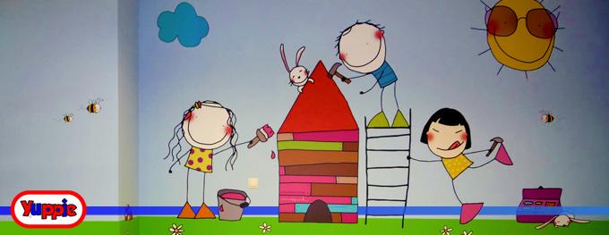 Yuppiepark ideas para decorar el cuarto de juegos para - Paredes pintadas infantiles ...